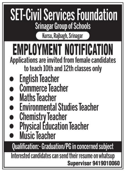 Employment Notification  In set-civil Services Foundation Srinagar Group of schools