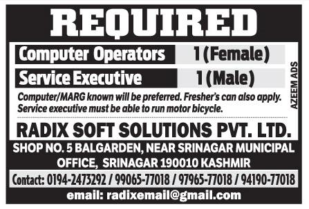 Job Opening 2019 in Radix soft Solutions Pvt Ltd ll Job In srinagar
