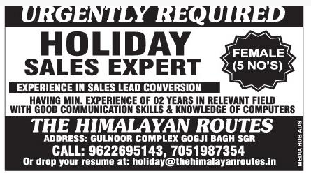 Job opening   july 2019  in The Himalayan routes