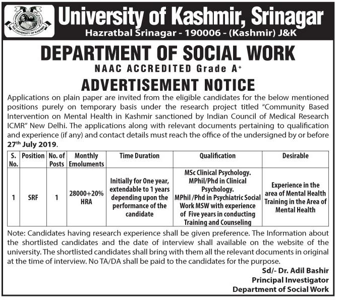 Srf Job In University of Kashmir