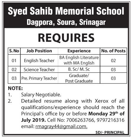 Job Opening In Syed Sahib Memorial School