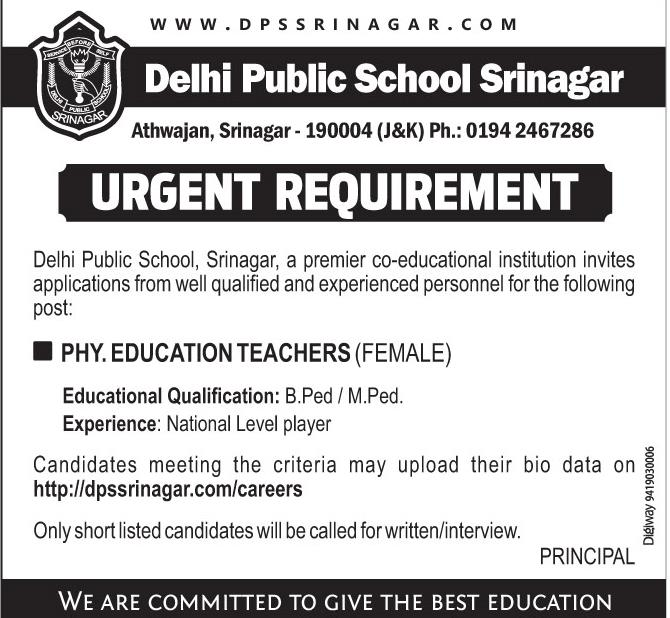 Job Opening In Delhi Public School Srinagar ll Best Jobs In Srinagar