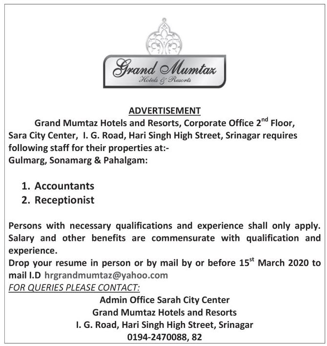 Jobs March 2020 in Grand Mumtaz Hotels & Resorts