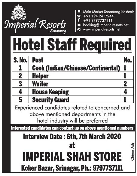 Hotel Job In Kashmir at Imperial Resort Sonmarg