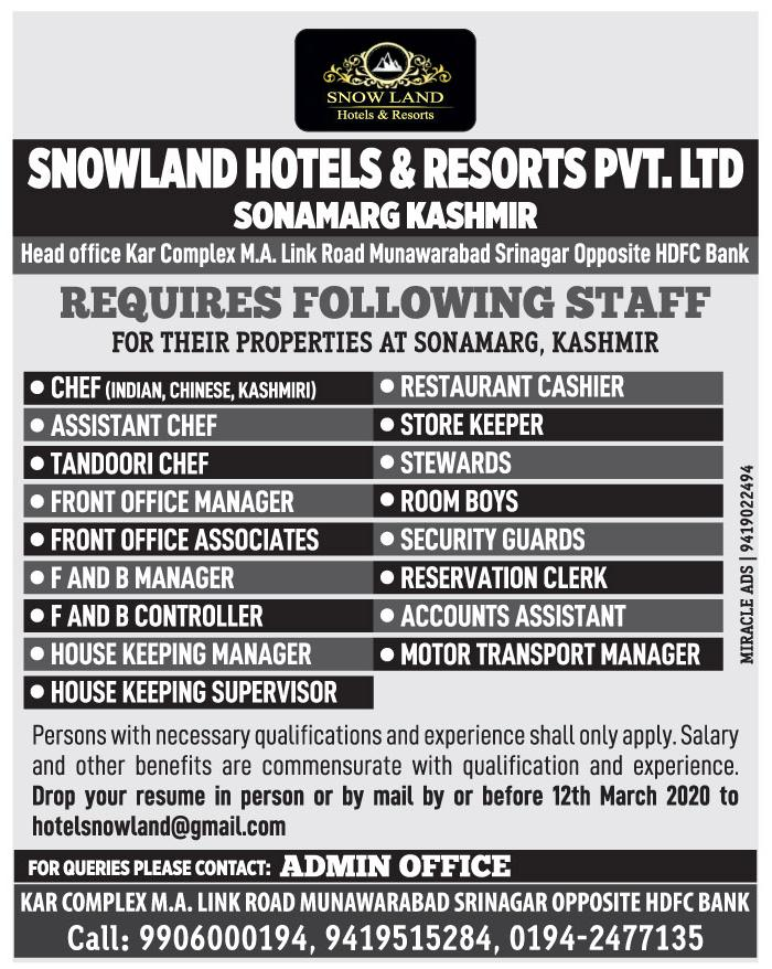 Hotel Jobs In Kashmir at Snowland Hotels & Resorts Pvt Ltd