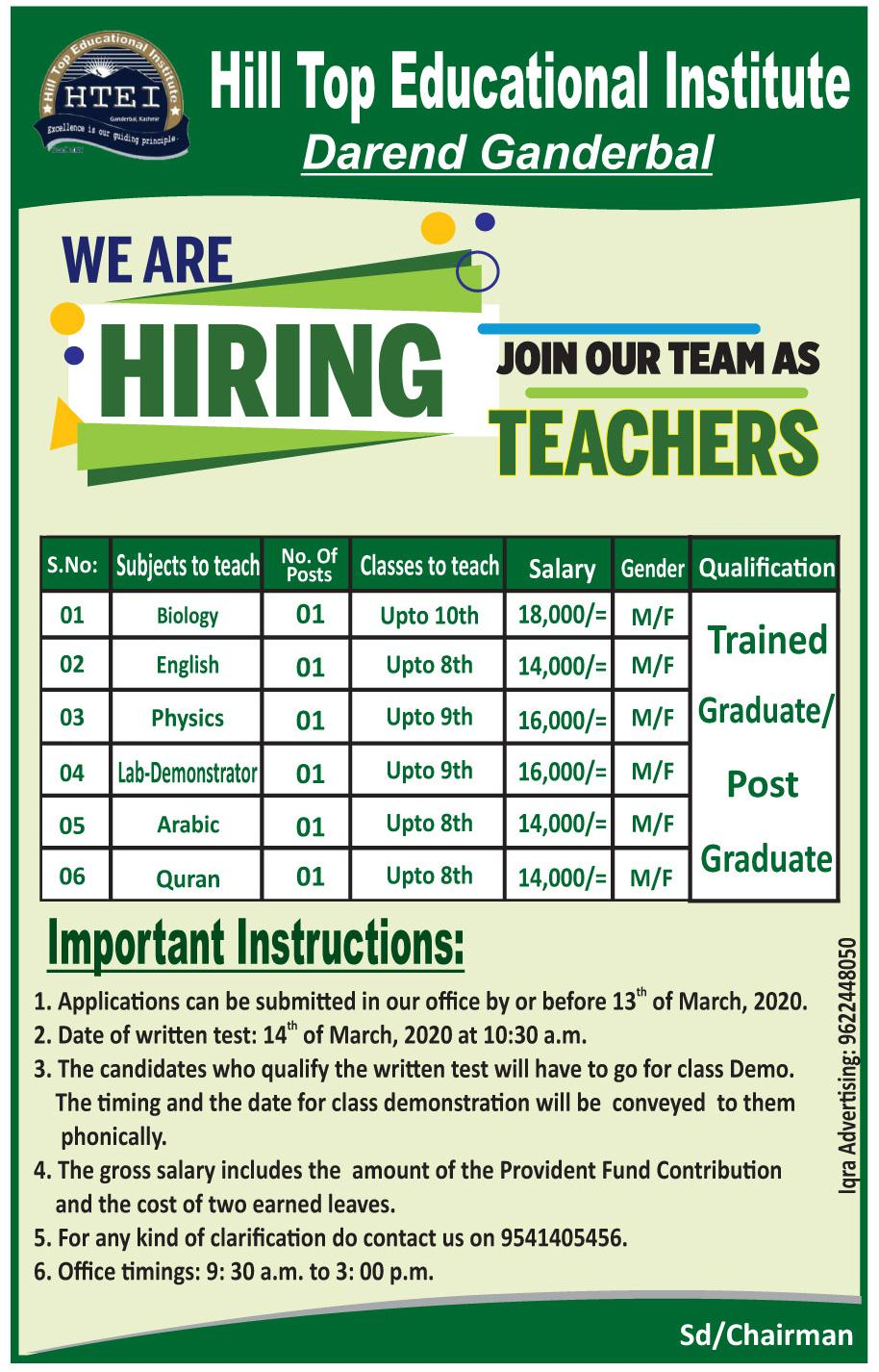 Teaching Jobs march 2020 at Hilltop Educational Institute