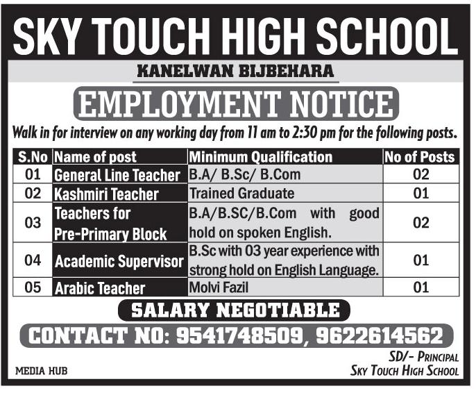Teaching Jobs march 2020 In SKY Touch High School