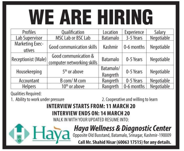 Jobs in Kashmir march 2020 at Haya Wellness & Diagnostic Center