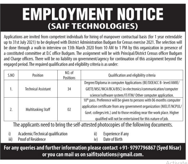 Job in Kashmir at Saif technologies