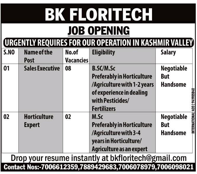 Jobs In Kashmir at BK Floritech